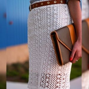 FREE PEOPLE crocheted knit pencil skirt-XS